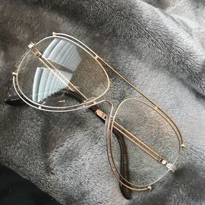 Gold frame clear glasses